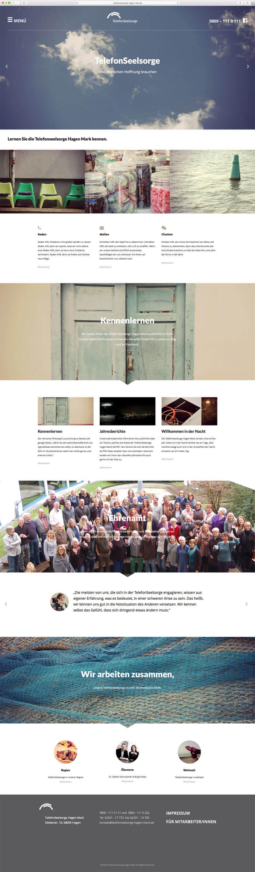 Website für die Telefonseelsorge Hagen-Mark – Startseite