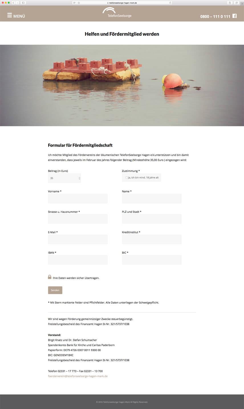 Website für die Telefonseelsorge Hagen-Mark – Mitglied werden