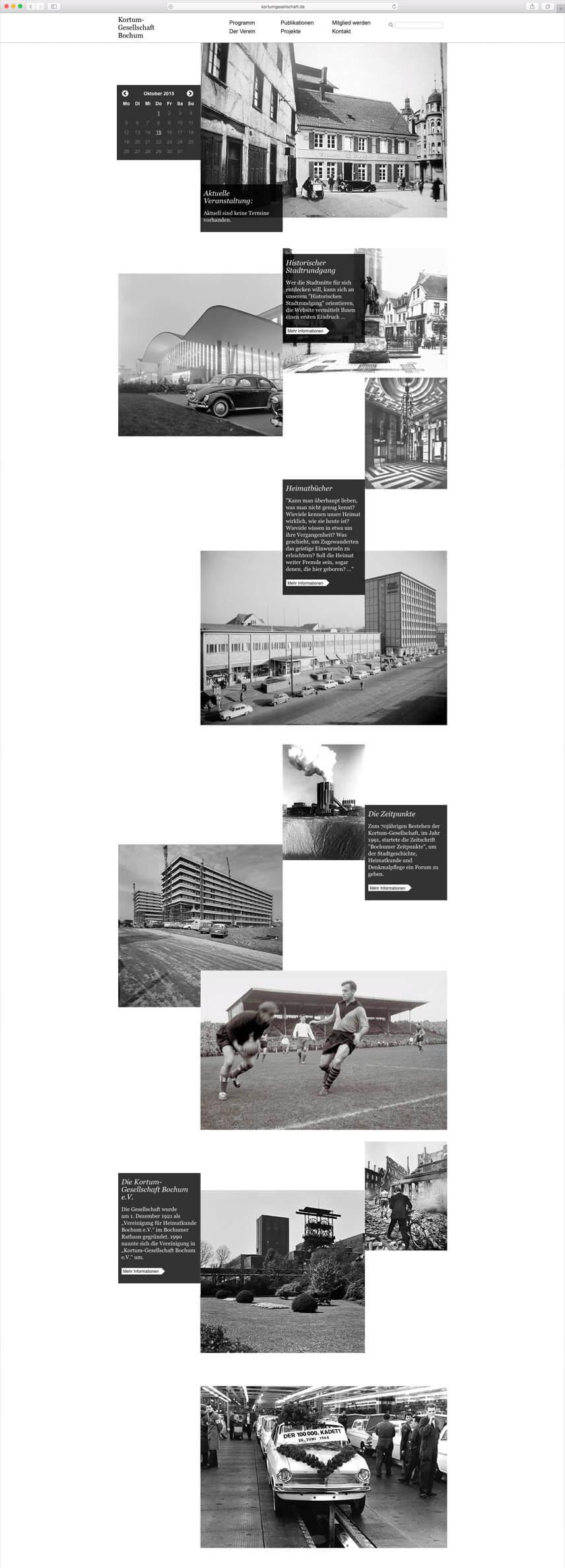 Website für die Kortumgesellschaft Bochum – Startseite