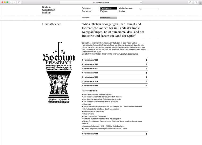 Website für die Kortumgesellschaft Bochum – Folgeseite Heimatbücher
