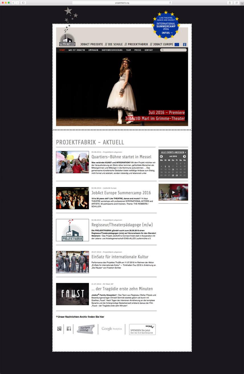 Website für die PROJEKTFABRIK gGmbH – Startseite