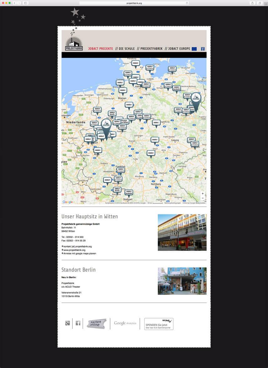 Website für die PROJEKTFABRIK gGmbH – Seite Standorte