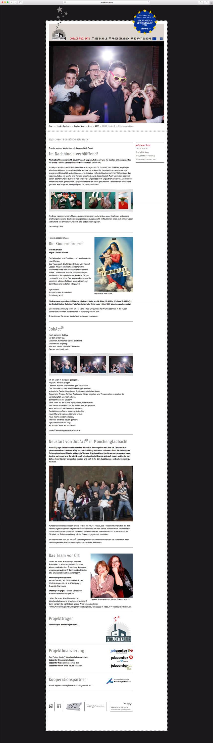 Website für die PROJEKTFABRIK gGmbH – Projektseite