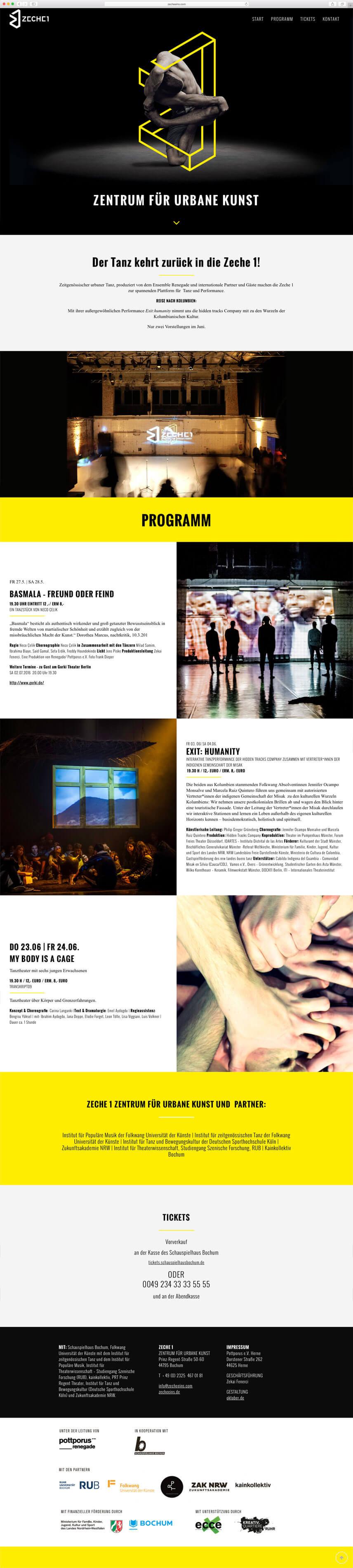 Website für die Zeche1 – im Auftrag für Oktober Kommunikationsdesign GmbH