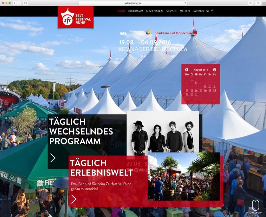Website für das Zeltfestival Ruhr – im Auftrag für Oktober Kommunikationsdesign GmbH – Startseite