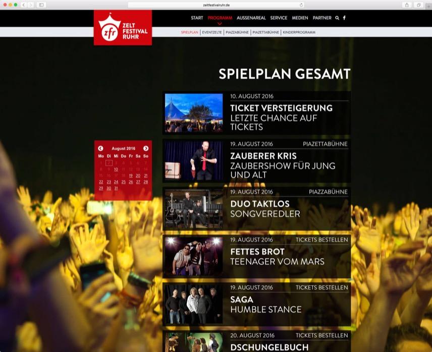Website für das Zeltfestival Ruhr – im Auftrag für Oktober Kommunikationsdesign GmbH – Seite mit Spielplan