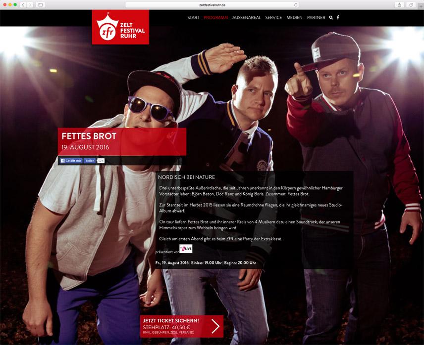 Website für das Zeltfestival Ruhr – im Auftrag für Oktober Kommunikationsdesign GmbH – Seite mit einem Event