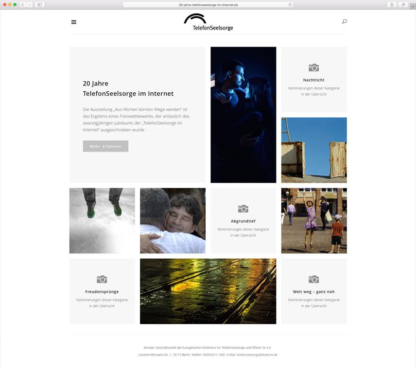Website für die Telefonseelsorge Deutschland – 20 Jahre Telefonseelsorge im Internet – Startseite
