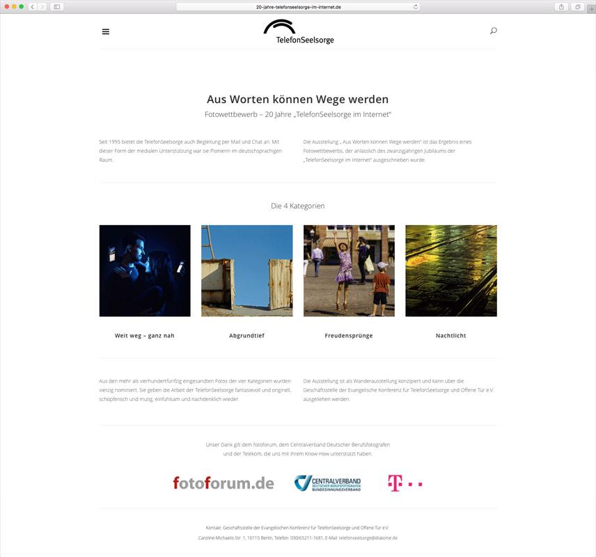 Website für die Telefonseelsorge Deutschland – 20 Jahre Telefonseelsorge im Internet – Über den Fotowettbewerb