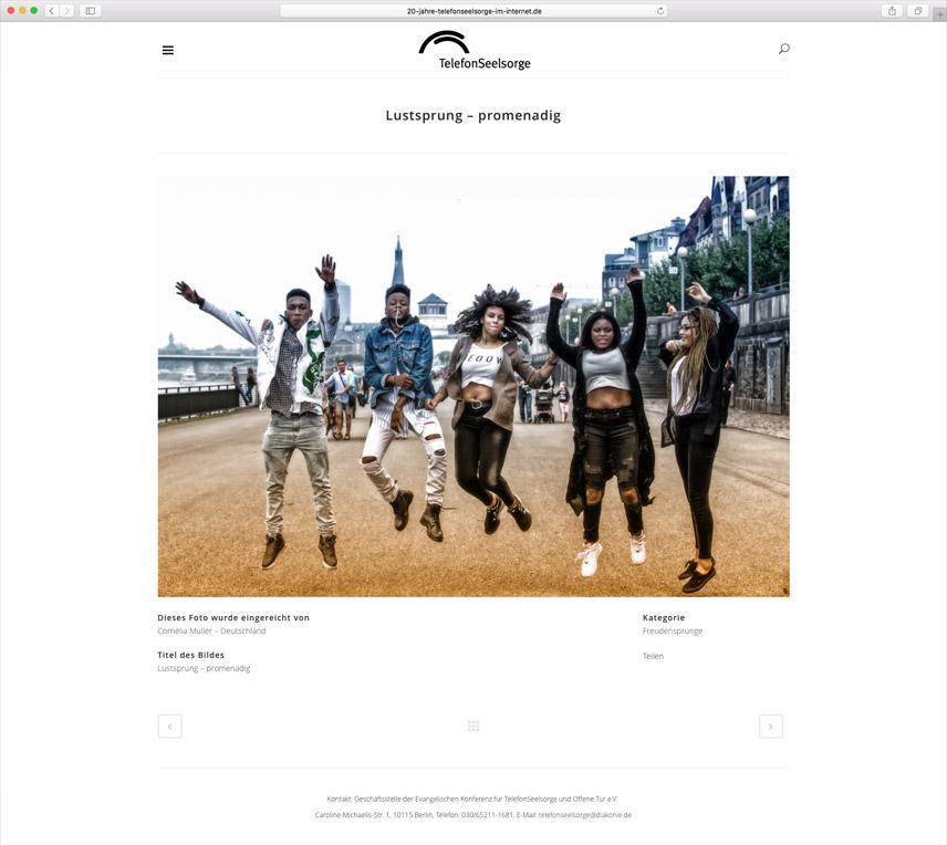 Website für die Telefonseelsorge Deutschland – 20 Jahre Telefonseelsorge im Internet – Seite mit nomminiertem Bild des Fotowettbewerbs