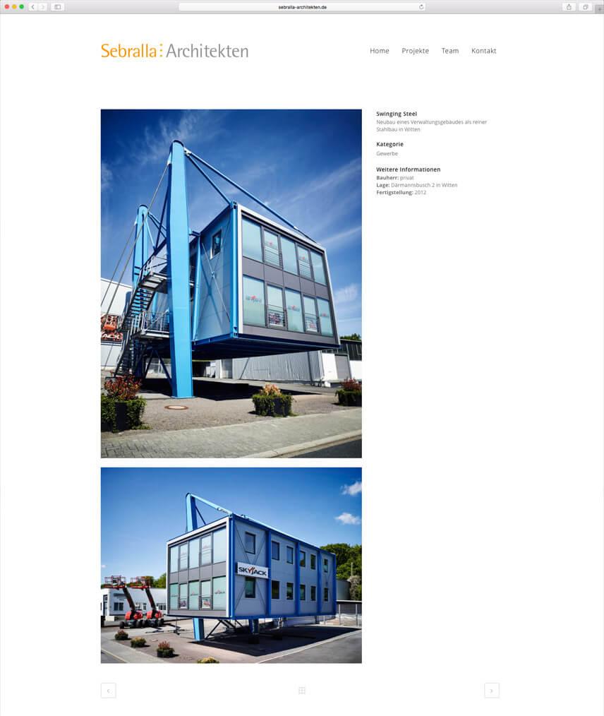Website für Dipl. Ing. Architekt Thomas Sebralla – Projektseite