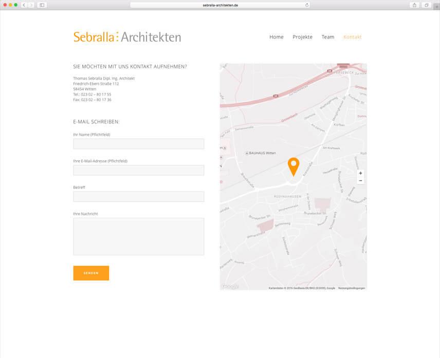 Website für Dipl. Ing. Architekt Thomas Sebralla – Kontaktseite