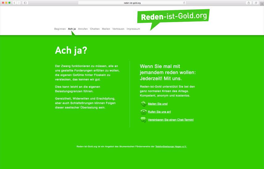 Website zur Kampagne 'Reden ist Gold' von der TelefonSeelsorge Deutschland – Folgeseite