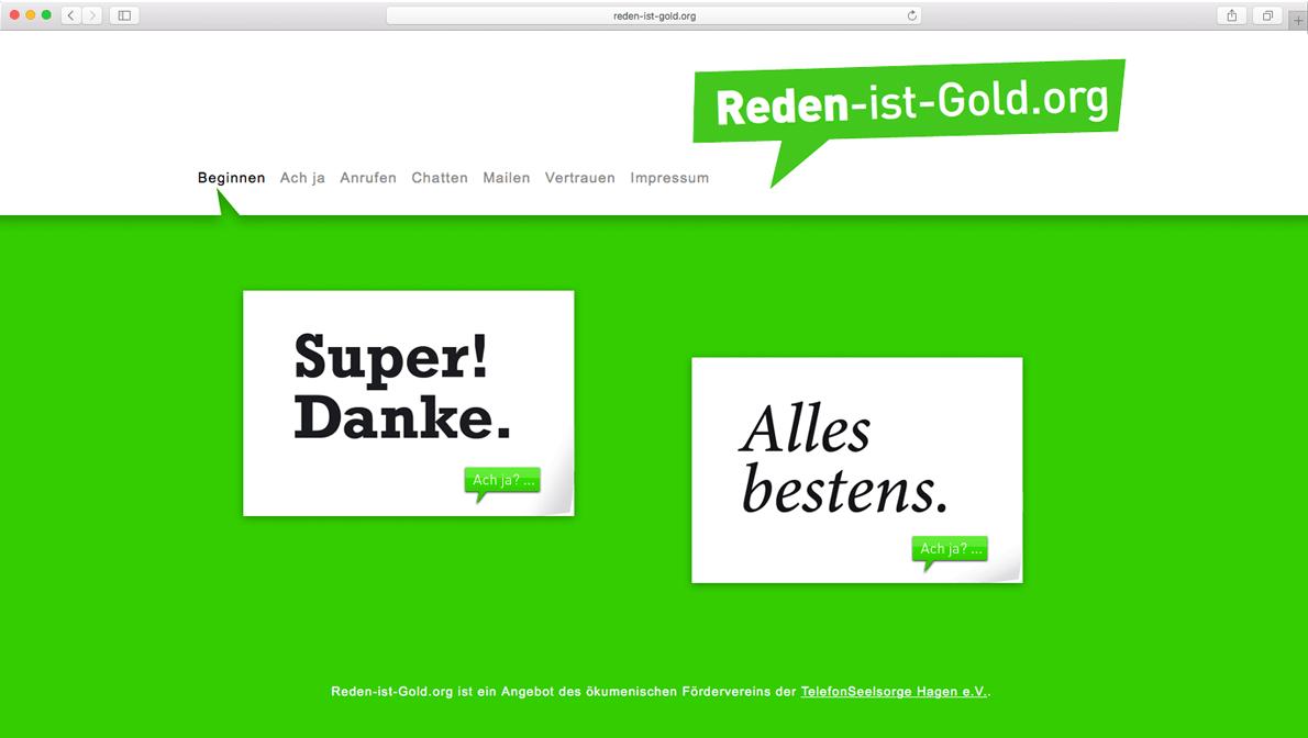 Website zur Kampagne 'Reden ist Gold' von der TelefonSeelsorge Deutschland