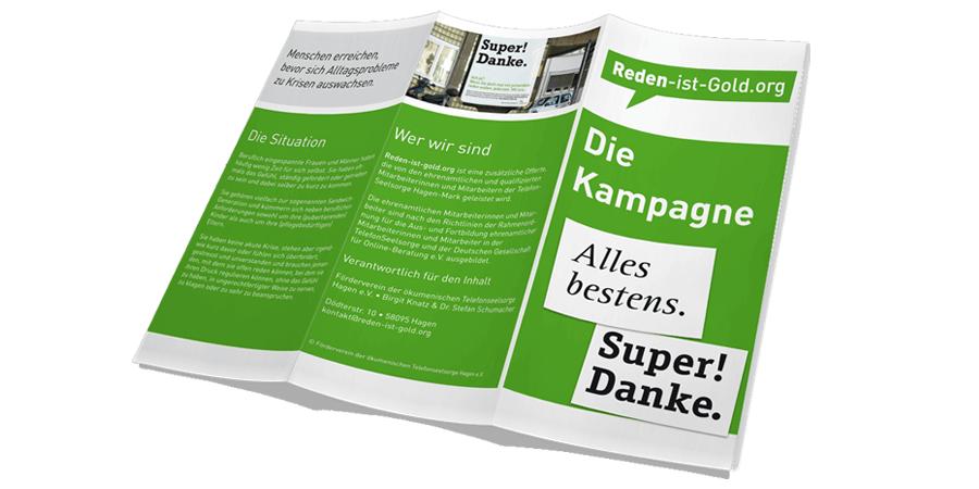 Flyer zur Kampagne 'Reden ist Gold' von der TelefonSeelsorge Deutschland