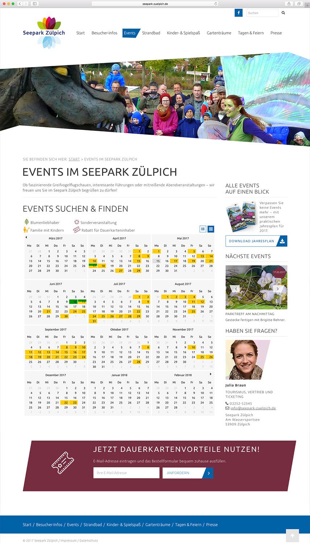 Veranstaltungskalender der Website für den Seepark Zülpich mit Jahresübersicht