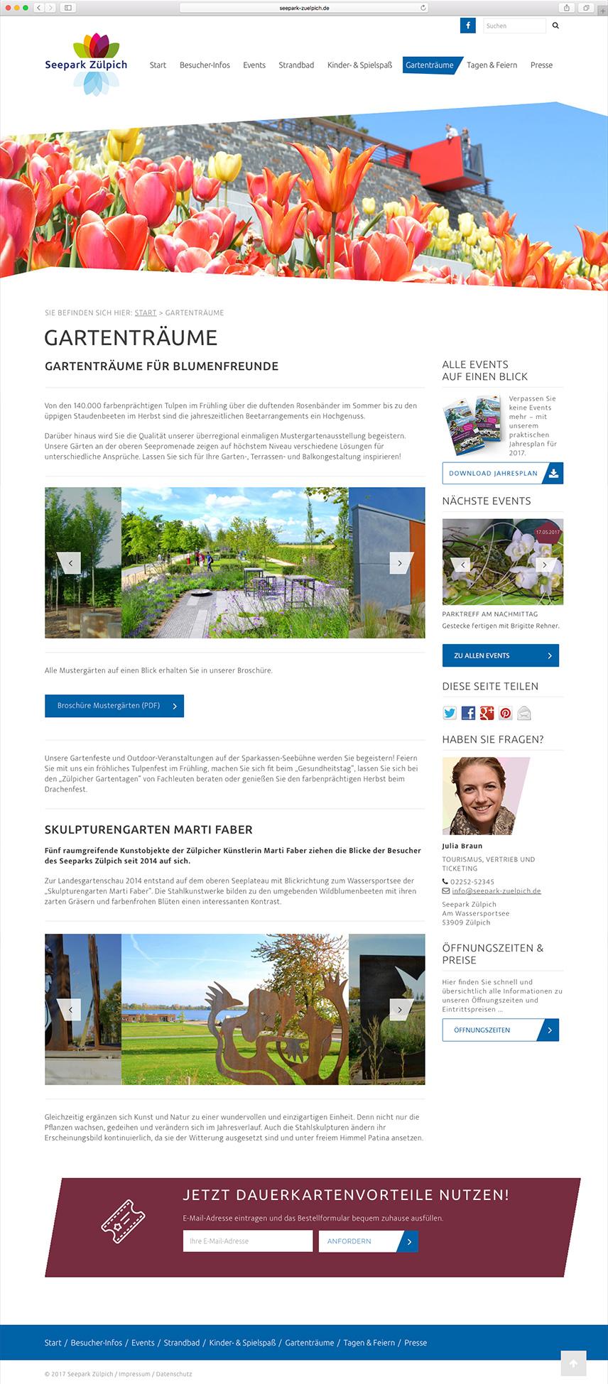 Themenseite 'Gartenträume' der Website für den Seepark Zülpich