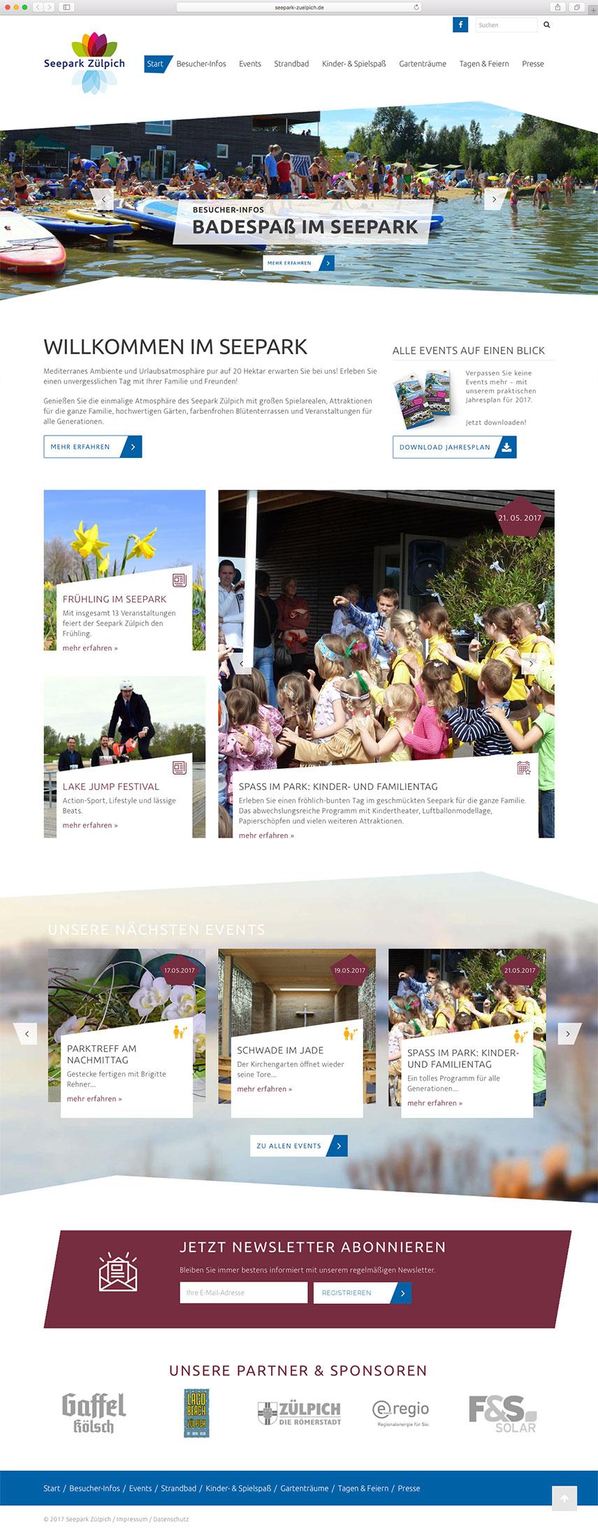 Startseite der Website für den Seepark Zülpich