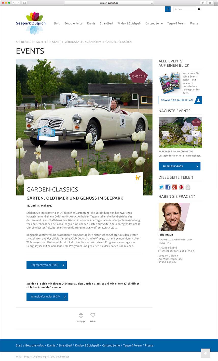 Ansicht einer Veranstaltung der Website für den Seepark Zülpich