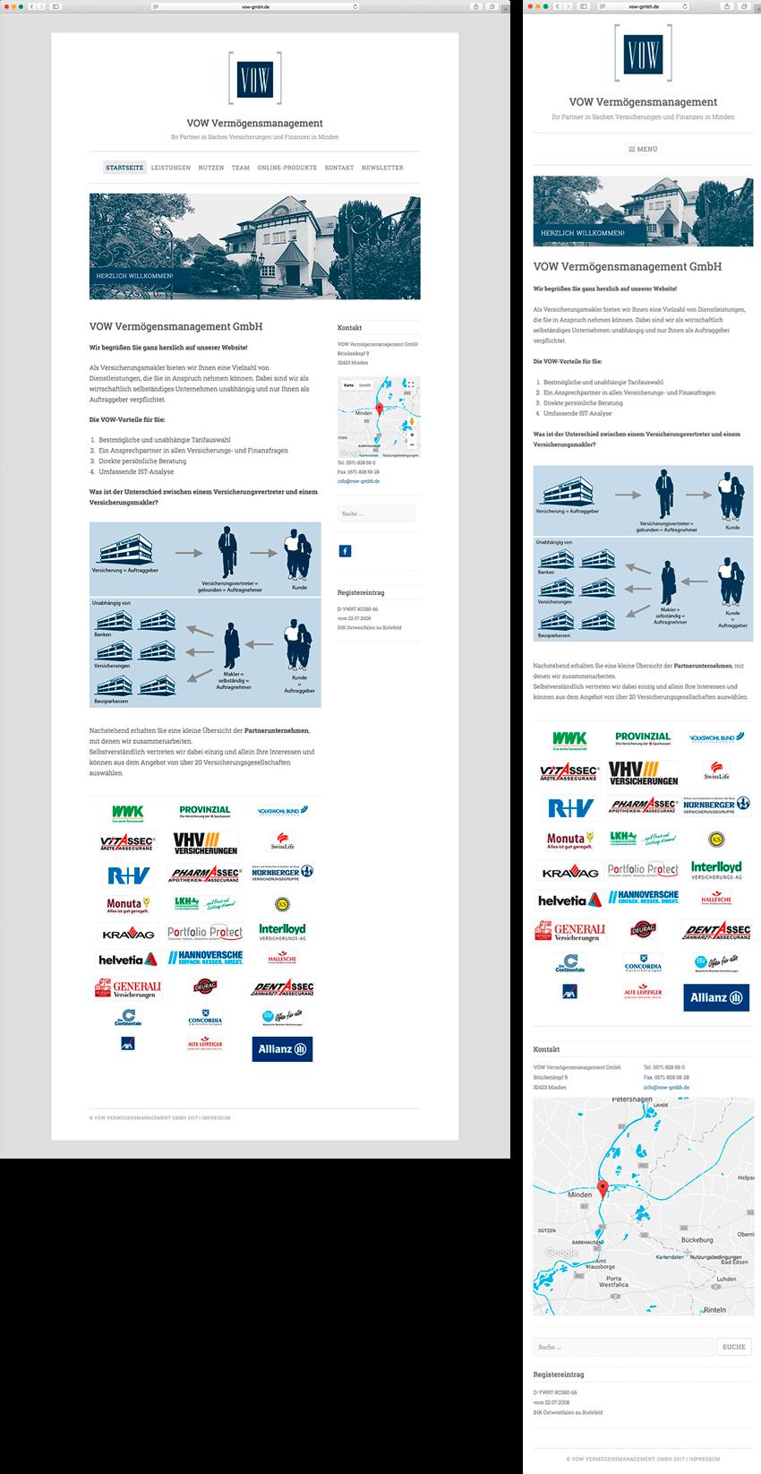 Relaunch der Website VOW Vermögensmanagement GmbH mit modernem Content-Management-System CMS und responsiver Optimierung